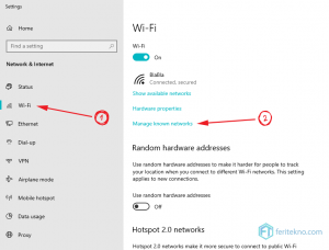 forget wifi di laptop windows 10 - manage known network