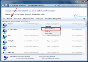 forget wifi di laptop windows 7 - remove network